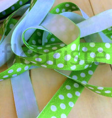 "Holiday Fold Over Elastic-5/8"" Width-Lime Swiss Dots"