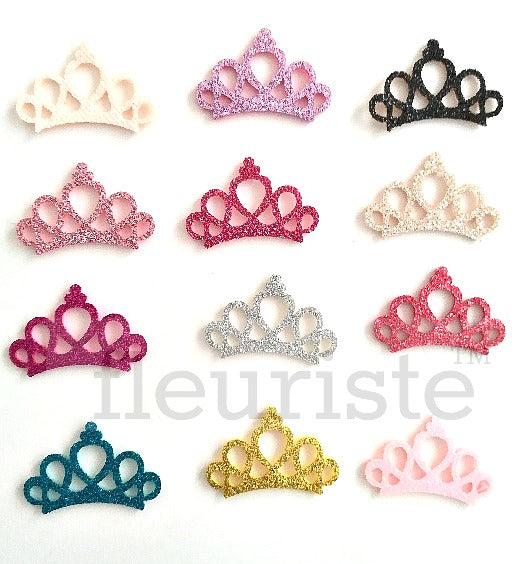 2 inch Felt Glitter Padded Crown Appliques-Pick Your Color