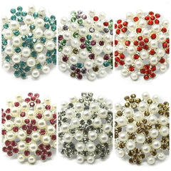 Pearl Cluster Rhinestones Buttons Flat Back- Choose Your Color