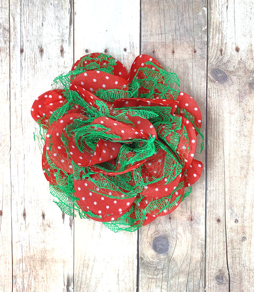 "Lace Red Polka Dot Flower - 3.75"", Christmas Flower"
