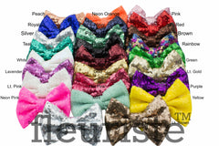 "Sequin Glitter  Bows 5""  - Pick Your Color"