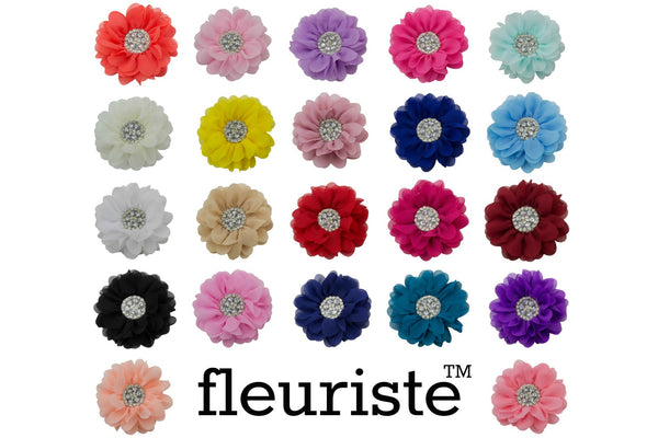 Extra Large Chiffon Rhinestone Flowers 5 Inches - Pick Your Color