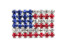 American Flag Rhinestone Button 4th of July