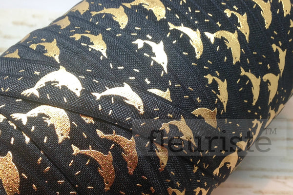 "Fold Over Elastic-5/8"" Width- Gold Dolphin on Black"