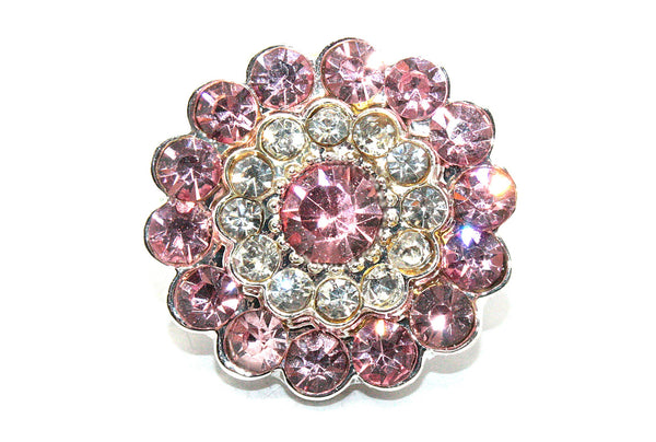 Metal Rhinestone Button 25 mm Two Tone
