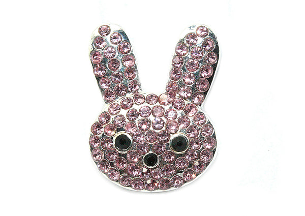 Easter Bunny Rhinestone Button 15 mm by 21 mm Slider- Choose Your Color
