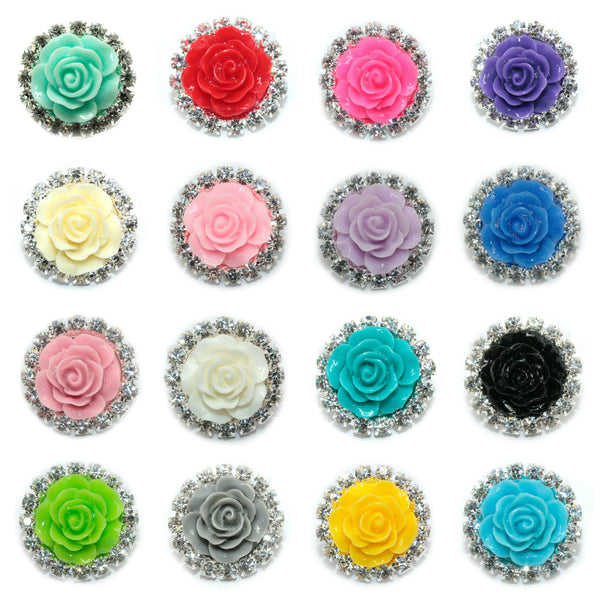 Rose Rhinestones Buttons Flat Back 18 mm- Choose Your Color