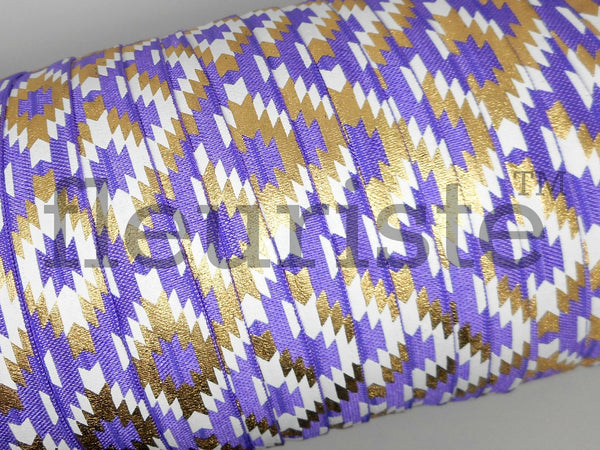 Fold Over Elastic 5/8 Elastic Purple Navajo