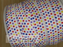 Printed Foldover Elastic - White with Multi Color Dots