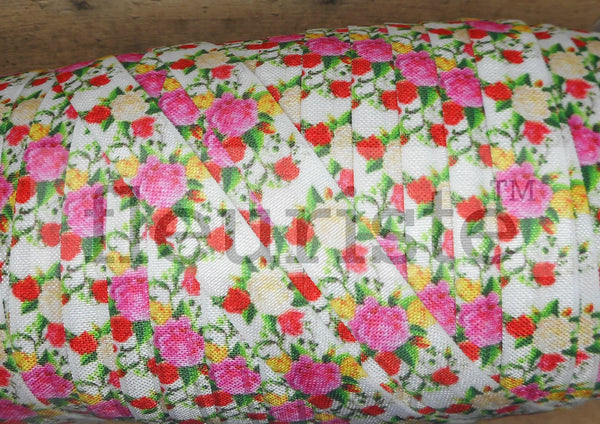 "Printed Fold Over Elastic-5/8"" Width Floral Pink Red Roses"