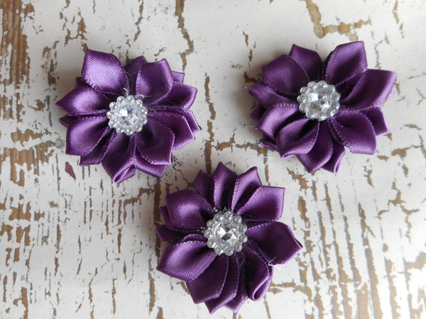 "1.5"" Ribbon Satin Flower with Rhinestone- Pick Your Color"