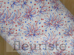 Patterned Elastic by the Yard- 4th of July FOE, Patriotic, Red Blue White, Fireworks
