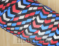 Patterned Elastic by the Yard- 4th of July FOE, Patriotic, Red Blue White Chunky Chevron