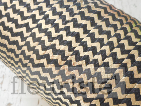 "Printed Fold Over Elastic-5/8"" Width Black Gold Chevron"