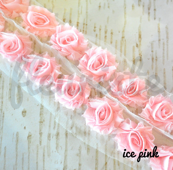 Petite Solid Shabby Rose Trim-Ice Pink