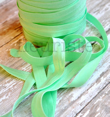 "Solid 5/8"" Foldover Elastic by the Yard-Pale Mint"