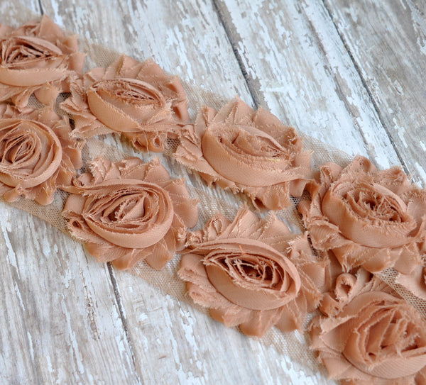 Solid Shabby Rose Trim-Coffee