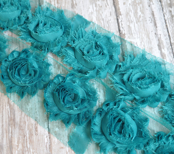 Solid Shabby Rose Trim-Jade Teal