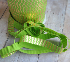 Metallic Printed Foldover Elastic-Lime with Gold Chevron