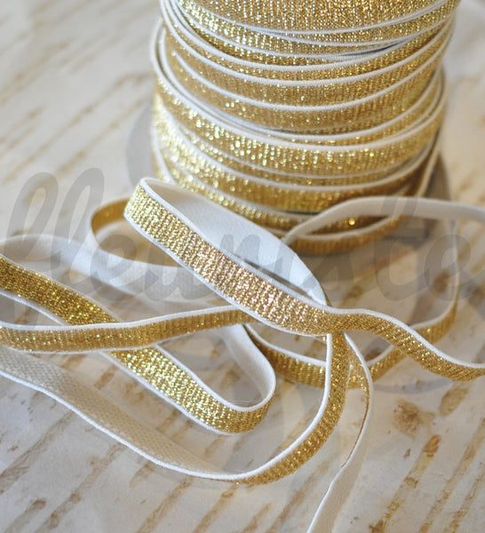 "3/8"" Gold & White Elastic - By the Yard"