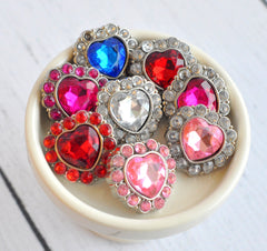 25mm Heart Acrylic Rhinestone Buttons-Pick Your Color