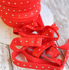 Rhinestone Studded Elastic-Cherry Red