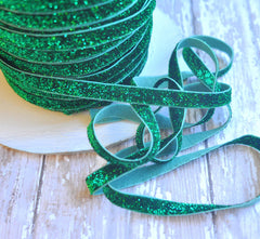 Regular Glitter Elastics by the Yard-Dark Green