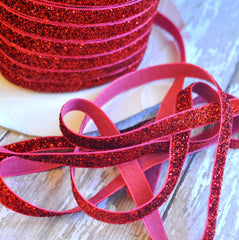 Regular Glitter Elastics by the Yard-Red