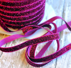 Regular Glitter Elastics by the Yard-Dark Hot Pink