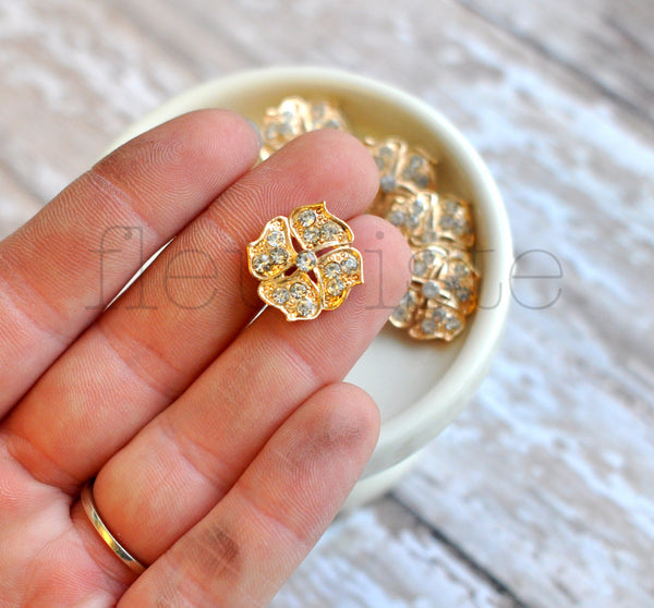 Gold Metal Buttons-Flower Shaped