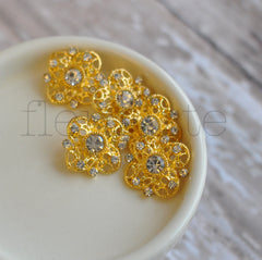 Gold Metal Buttons-Quatrefoil Shaped