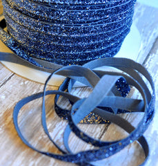 Regular Glitter Elastics by the Yard-Denim Navy
