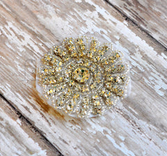 Beaded Bridal Applique-Single Applique-Round Starburst