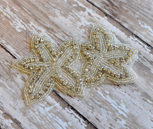Beaded Bridal Applique-Single Applique-Starfish Style