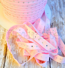 Rhinestone Studded Elastic-Light Pink