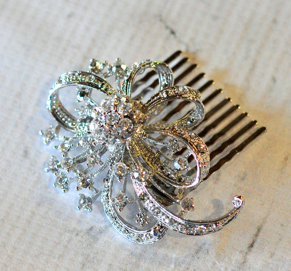 Bridal Comb - Ready to Wear - Firecracker Bow