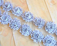 Petite Patterned Shabby Rose Trim-White with Black Dots
