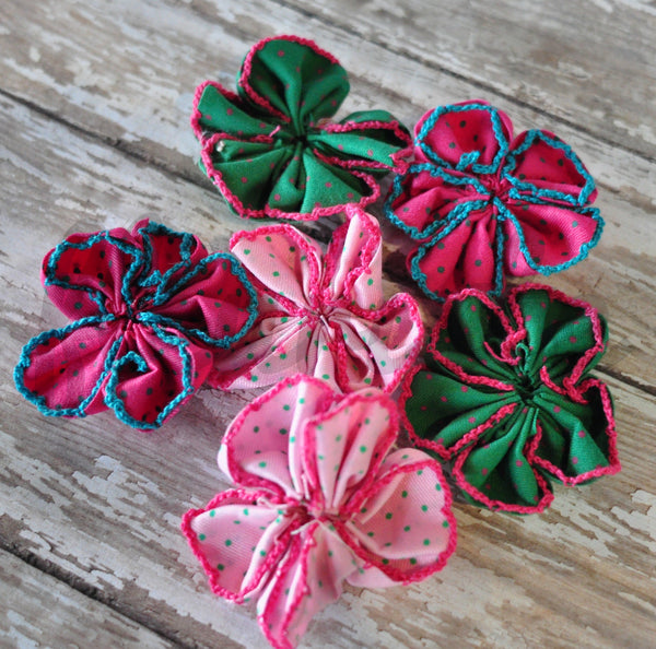 Polka Dot Kanzashi Flowers - Pick Your Color