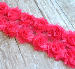 Petite Solid Shabby Rose Trim-Hot Pink