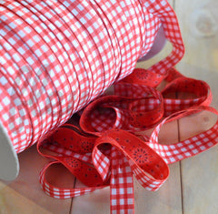 "5/8"" REVERSIBLE Foldover Elastic by the Yard-Red Gingham & Farmhouse Check"
