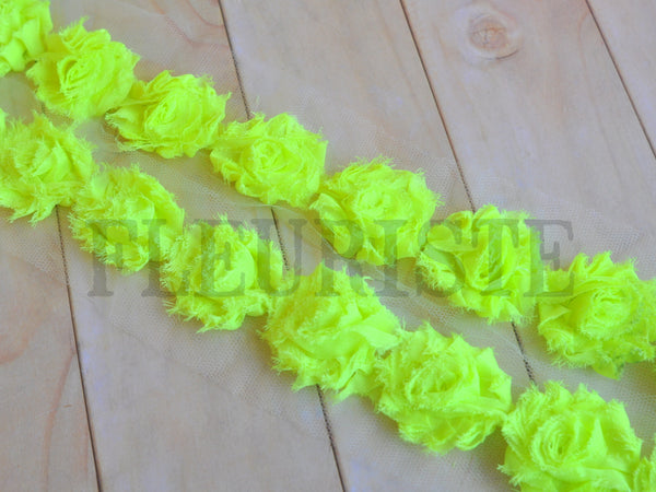 Petite Solid Shabby Rose Trim-Neon Yellow