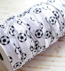 Patterned Foldover Elastic by the Yard-Pick Your Pattern - Soccer Balls