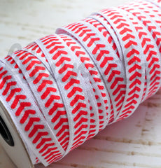 Patterned Foldover Elastic by the Yard-Pick Your Pattern - Baseball Stitch
