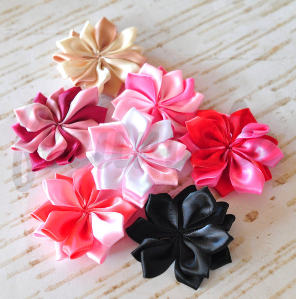 Satin Kanzashi Flowers - Pick Your Color