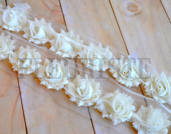 Petite Solid Shabby Rose Trim-Ivory