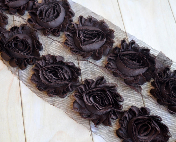 Solid Shabby Rose Trim-Chocolate