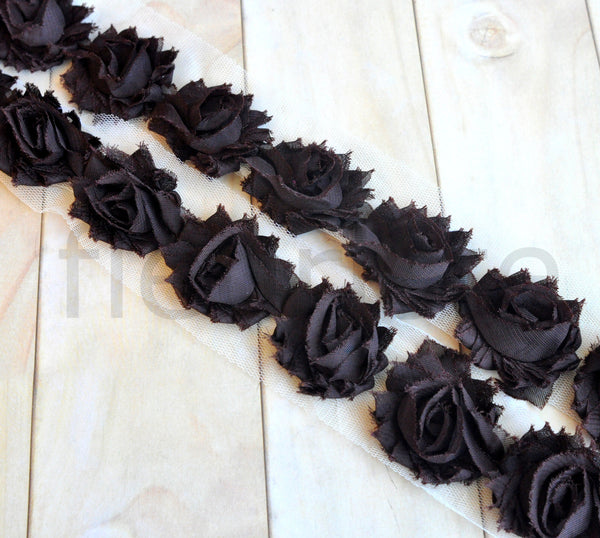 Petite Solid Shabby Rose Trim-Chocolate