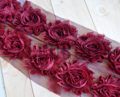 Solid Shabby Rose Trim-Maroon