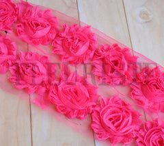 Solid Shabby Rose Trim-Hot Pink