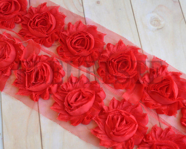 Solid Shabby Rose Trim-Red